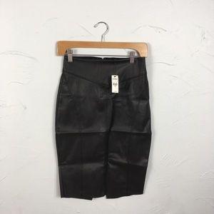 nwt faux leather high waisted pencil skirt sz 00